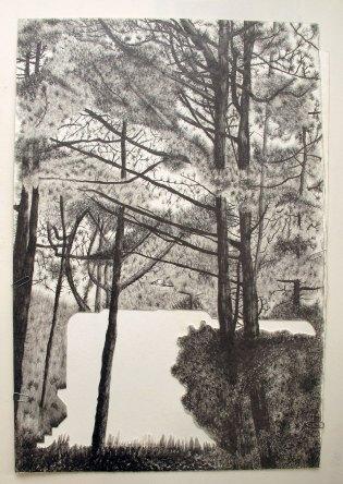 Blokhaus type M 176 Royan, Mine graphite sur papier aquarelle, 38 x 56 cm, 2015.