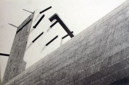 Poste de direction de tir, Quiberon, Mine graphite sur papier aquarelle, 56 x 38 cm, 2015.