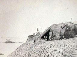 Blockhaus type R 612, St Malo, Mine graphite sur papier aquarelle, 76 x 56 cm, 2014.