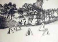 Tétraèdre, Plouharnel, Mine graphite sur papier aquarelle, 76 x 56 cm, 2014.