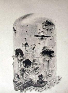 Cloche blindée, St Malo, Mine graphite sur papier aquarelle, 76 x 56 cm, 2014.