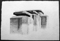 Poste de tir, Batz sur Mer, Mine graphite sur papier aquarelle, 28 x 18 cm, 2014.
