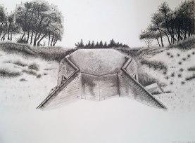 H669, île de Ré, Mine graphite sur papier aquarelle, 76 x 56 cm, 2016.