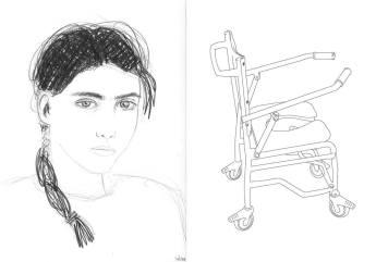 Sabra, mine graphite sur papier, dessin vectoriel, 50 x 40 cm, 1996.
