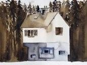 13 mai - Les maisons fortes - 31 x 41 cm - Aquarelle sur papier 300gr.