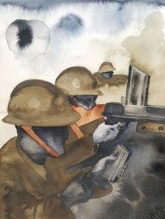 28 mai - Faut-il continuer le combat - 31 x 41 cm - Aquarelle sur papier 300gr.