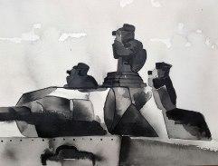 9 juin - Mise en scène des opérations - 31 x 41 cm - Aquarelle sur papier 300gr.