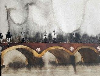 15 juin - Traverser l'unique pont de Bordeaux - 31 x 41 cm - Aquarelle sur papier 300gr.