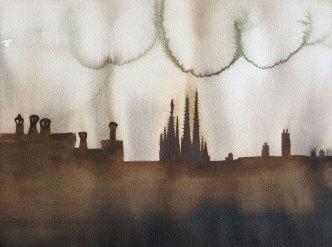 16 juin - Bordeaux sera bombardé - 31 x 41 cm - Aquarelle sur papier 300gr.