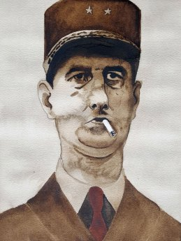 18 juin - Moi, général de Gaulle - 41 x 31 cm - Aquarelle sur papier 300gr.