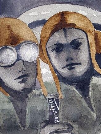 20 juin - Bombardement de meta-amphetamines - 41 x 31 cm - Aquarelle sur papier 300gr.